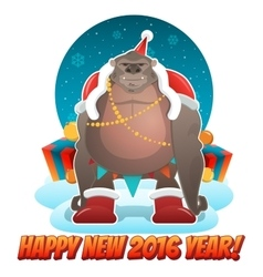 2016 Ney Year greeting card with monkey Santa in vector image