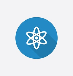 Atom flat blue simple icon with long shadow vector