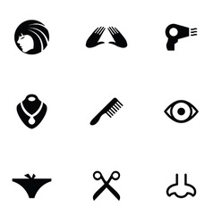 Beauty 9 icons set vector