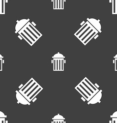 Fire hydrant icon sign seamless pattern on a gray vector