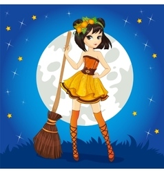 Brunette witch on halloween sky vector