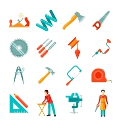 Carpenter icon flat set vector