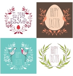 Happy easter festive greeting card set with floral vector