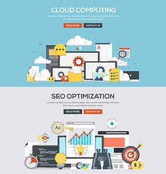 Flat design concept banner cloud computing vector