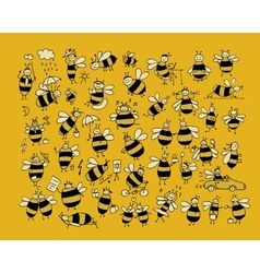 Funny bee collection sketch for your design vector image