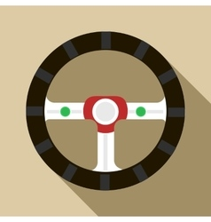 Steering wheel icon in flat style vector