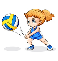 A caucasian girl playing volleyball vector