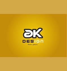 ak a k alphabet letter combination digit white on vector image