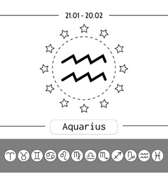 Aquarius signs of zodiac flat linear icons for vector