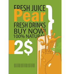 banner with pear and a glass of juice vector image vector image
