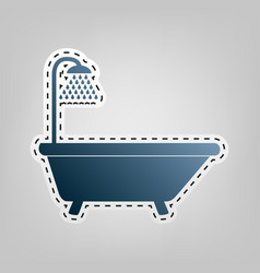 Bathtub sign blue icon with outline for vector