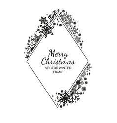 black rhombus snowflake frame white background vector image
