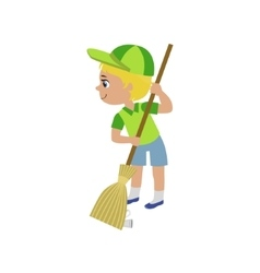 Boy sweeping with broom vector