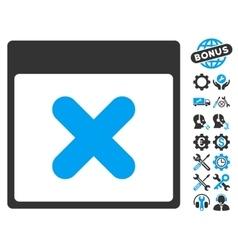 Cancel calendar page icon with bonus vector