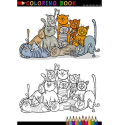 cats cartoon for coloring book vector image