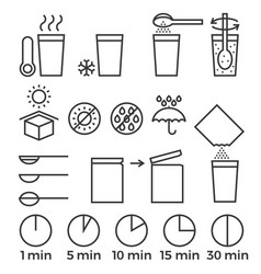 Cooking sign instruction for manual on packing vector