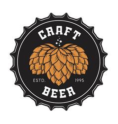 craft beer bottle cap with hops vector image vector image