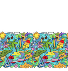 Doodle summer beach seamless border vector