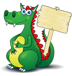dragon and wooden sign vector image