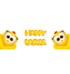 Easter card design template two funny yellow vector