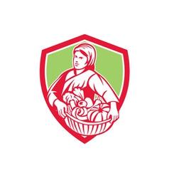 Female Organic Farmer Basket Harvest Shield Retro vector image