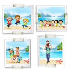 Four different pictures at the beach vector image vector image