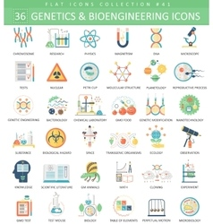 Genetics and bioengineering flat icon set vector image