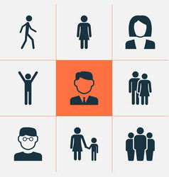 Human icons set collection of scientist work man vector