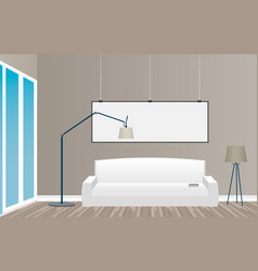 Interior mockup in loft style with empty frame vector