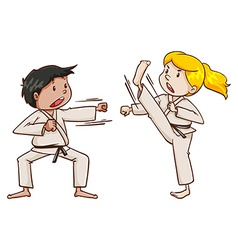 Kids doing martial arts vector image vector image