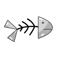 Line fish death with its spine and tail vector