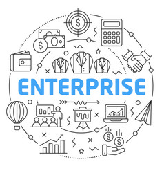 line flat circle enterprise vector image