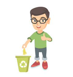 Little boy throwing banana peel in recycling bin vector