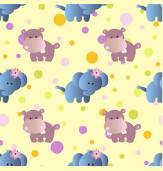 Pattern with cartoon cute baby behemoth elephant vector