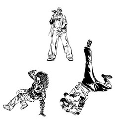 Raper and street dancers on white background vector