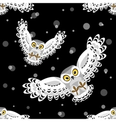Seamless pattern with flying polar owls vector