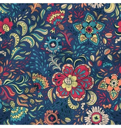 Seamless retro floral pattern with abstract vector image