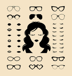 Set of dress up constructor with different vector