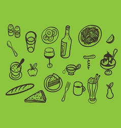 set of served food vector image