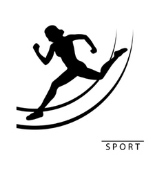 Silhouette of an athlete woman run around logo vector image