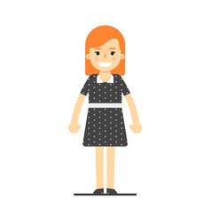 Smiling young redhead girl in black dress vector