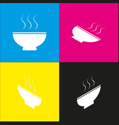 Soup sign white icon with isometric vector