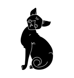 sphynx icon in black style isolated on white vector image vector image