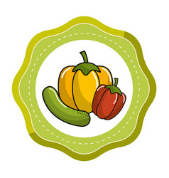 Sticker cucumber pepper and pepper vegetable icon vector