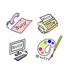 The office supply with swot analysis strategy mana vector