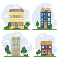 Traditional european architecture old town houses vector