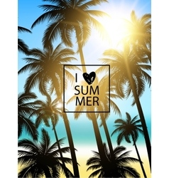 Tropical palms design for text card Summer vector image vector image