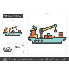 Water transportation line icon vector
