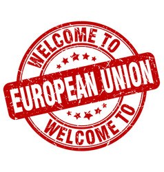 Welcome to european union red round vintage stamp vector