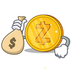 with money bag zcash coin character cartoon vector image